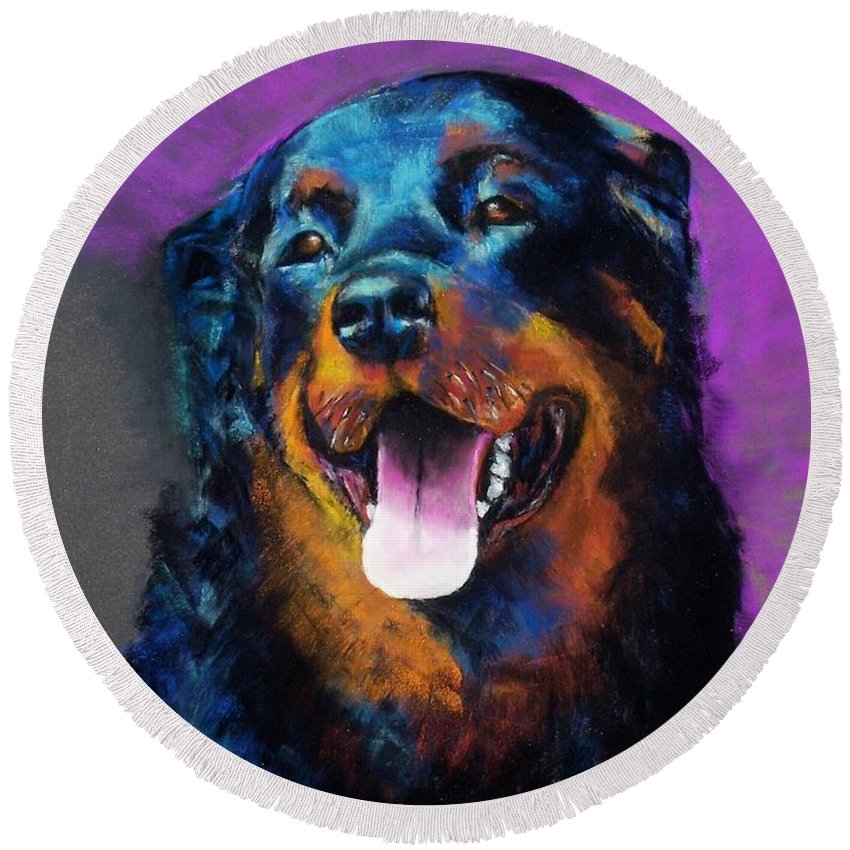 Rottweiler Round Beach Towel featuring the painting Gretchen by Frances Marino