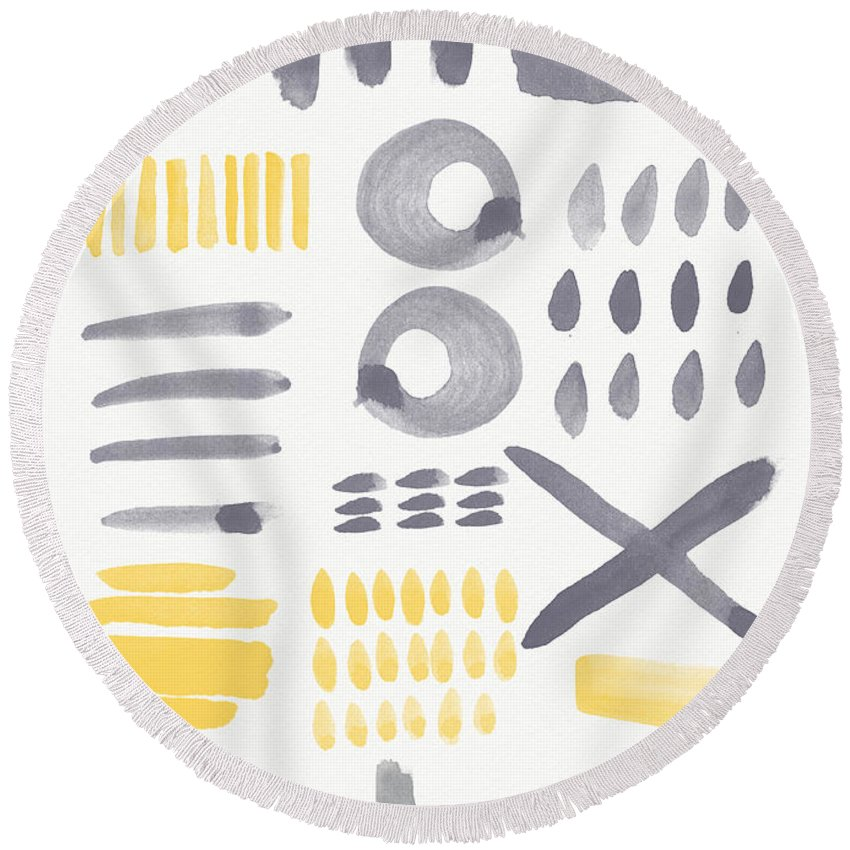 Grey And Yellow Round Beach Towel featuring the painting Grey and Yellow Shapes- abstract painting by Linda Woods