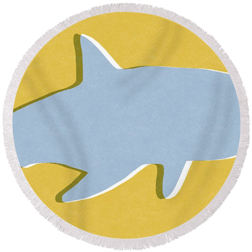 Shark Round Beach Towel featuring the mixed media Grey And Yellow Shark by Linda Woods