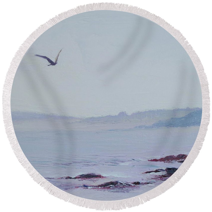 Seascape Round Beach Towel featuring the painting Grey Day In Newport by Lea Novak