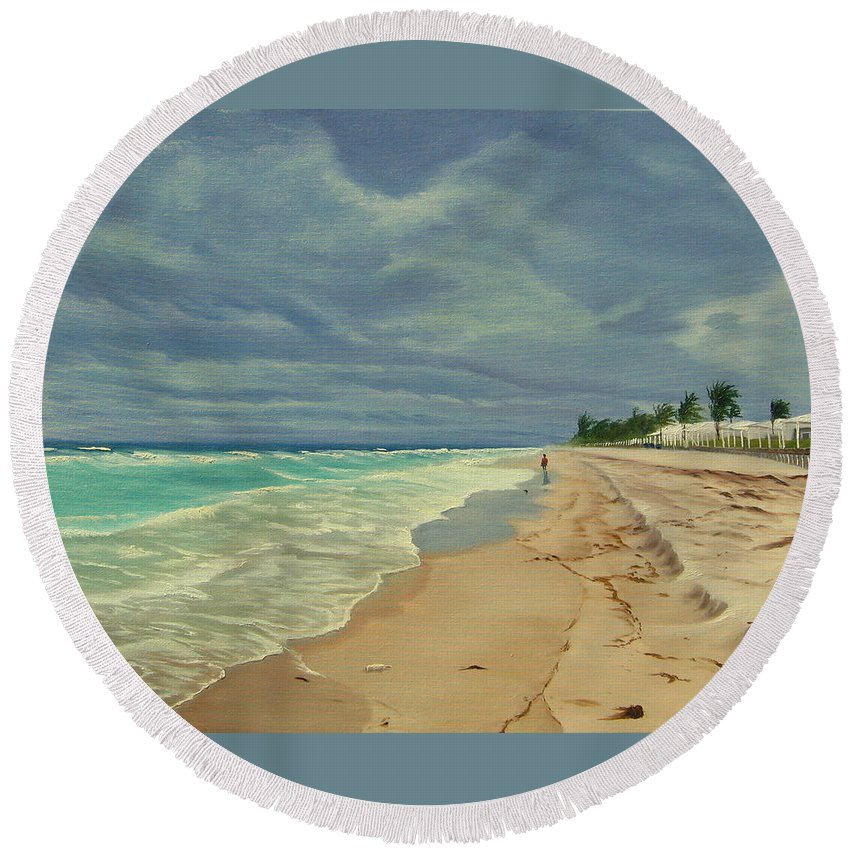 Beach Round Beach Towel featuring the painting Grey Day On The Beach by Lea Novak