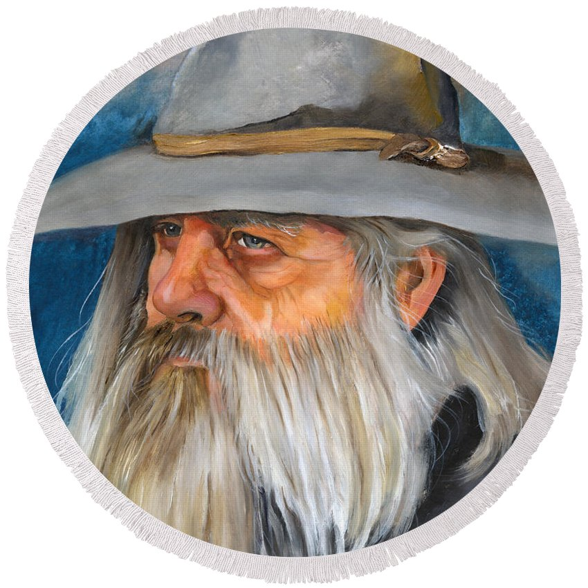 Wizard Round Beach Towel featuring the painting Grey Days by J W Baker