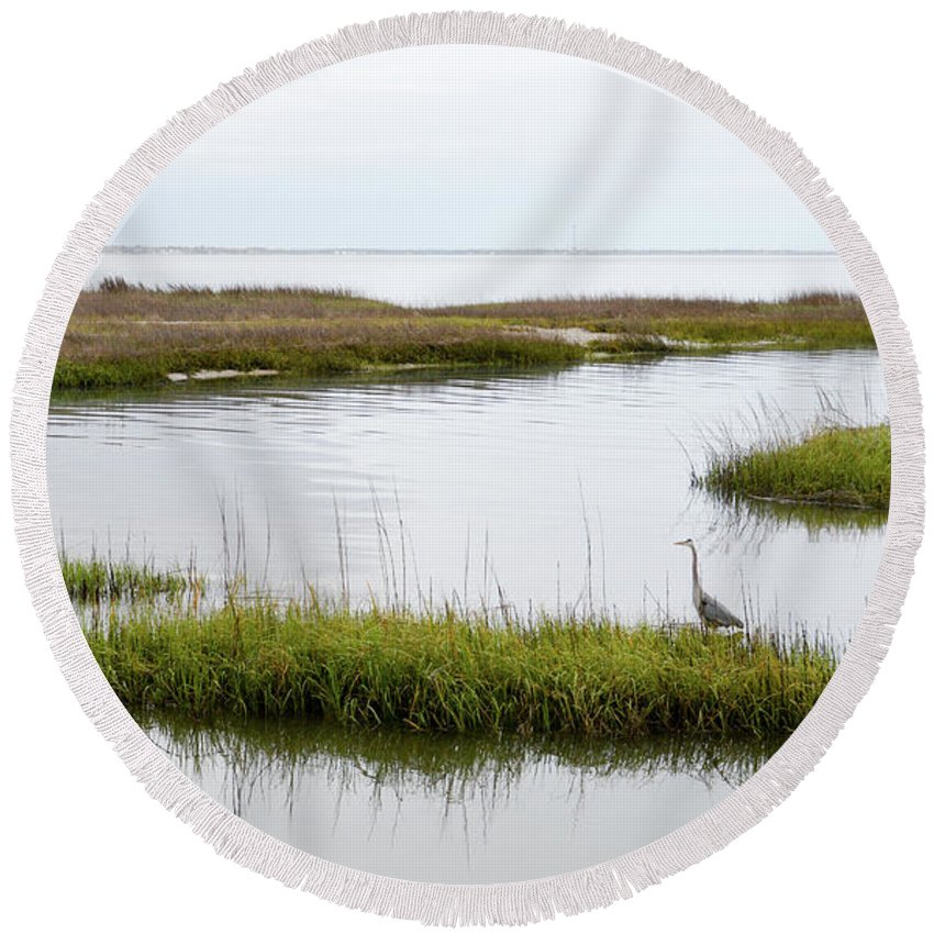 Avian Round Beach Towel featuring the photograph Grey Heron #1 by Tim Bond