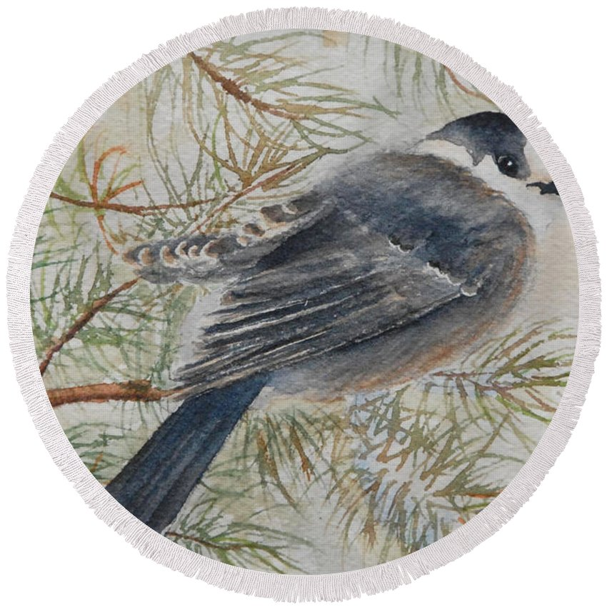 Bird Round Beach Towel featuring the painting Grey Jay by Ruth Kamenev