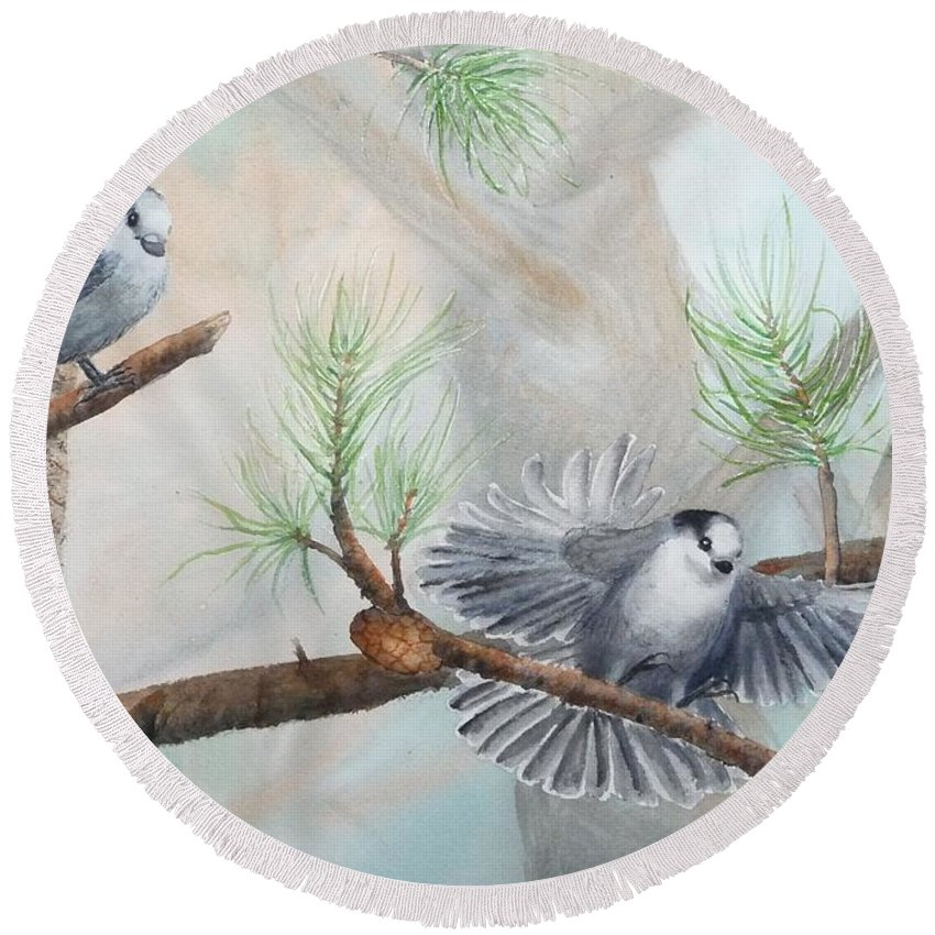 Grey Jay Round Beach Towel featuring the painting Grey Jays In A Jack Pine by Ruth Kamenev