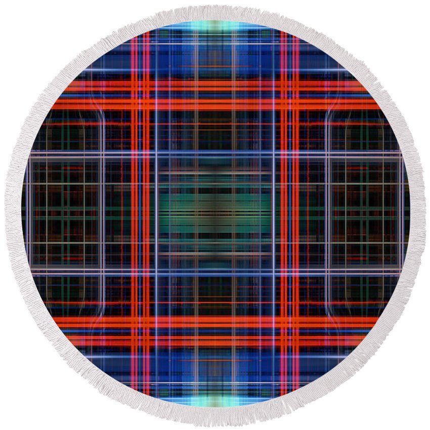Abstract Round Beach Towel featuring the digital art Grid 4 by Steve Ball