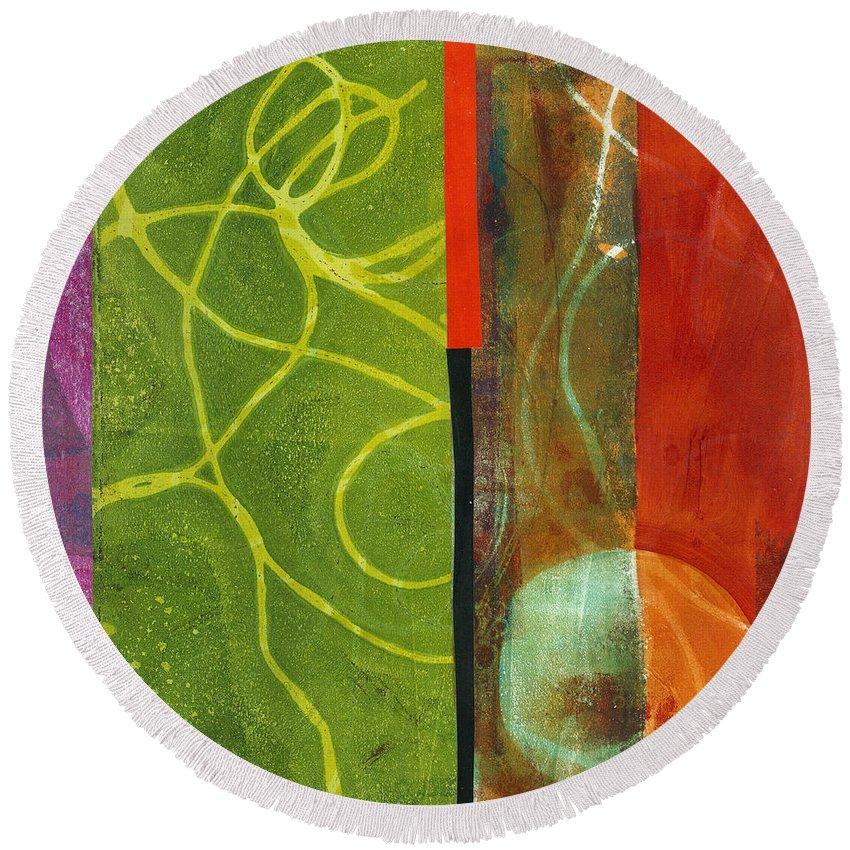 Acrylic And Collage Round Beach Towel featuring the painting Grid Print 13 by Jane Davies