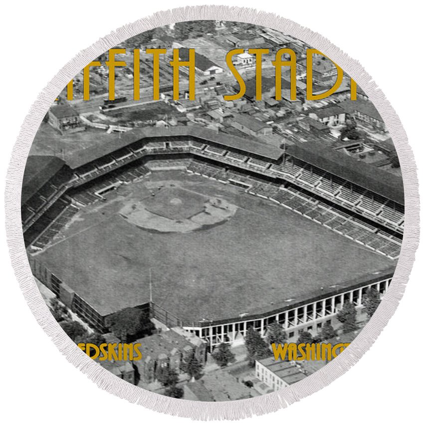 Griffith Round Beach Towel featuring the photograph Griffith Stadium by Jost Houk
