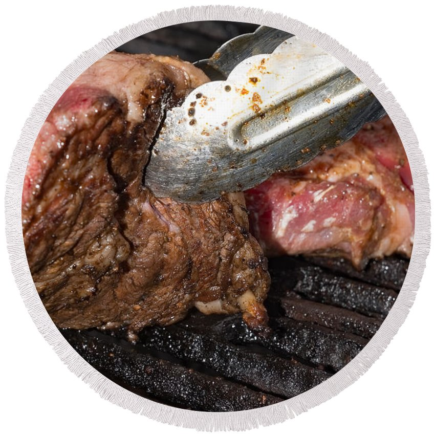 Texas Round Beach Towel featuring the photograph Grilling Steak by Erich Grant