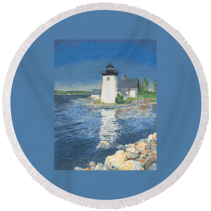 Lighthouse Round Beach Towel featuring the painting Grindle Point Light by Dominic White