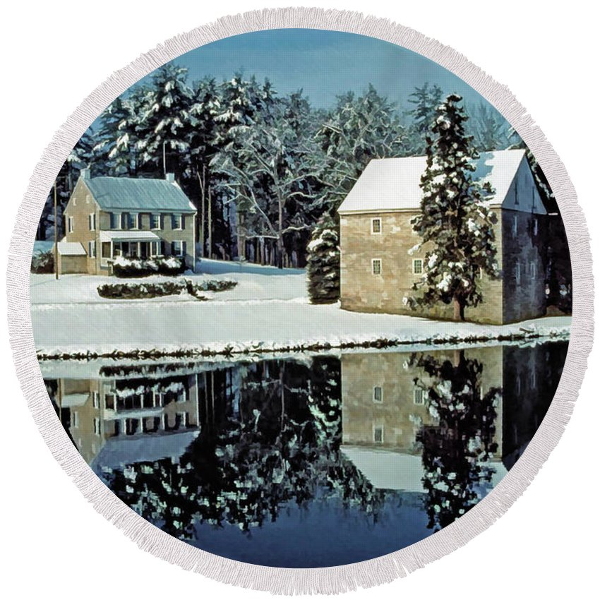 Grings Mill Recreation Area Round Beach Towel featuring the photograph Grings Mill Snow 001 by Scott McAllister