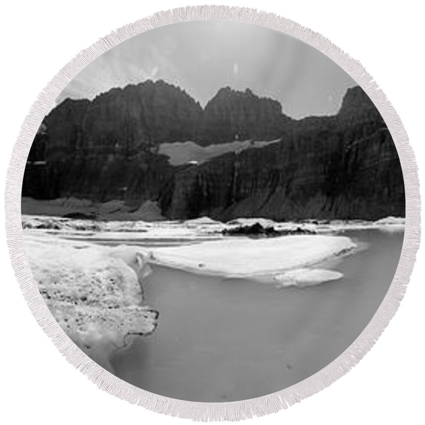 Glacier National Park Round Beach Towel featuring the photograph Grinnell Glacier Panorama by Sebastian Musial