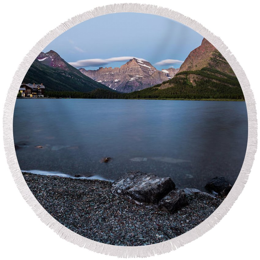 Gnp Round Beach Towel featuring the photograph Grinnell Point Over Swiftcurrent Lake by Craig Tata
