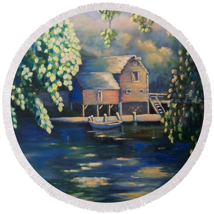 Landscape Round Beach Towel featuring the painting Grist Mill 2 by Marlene Book