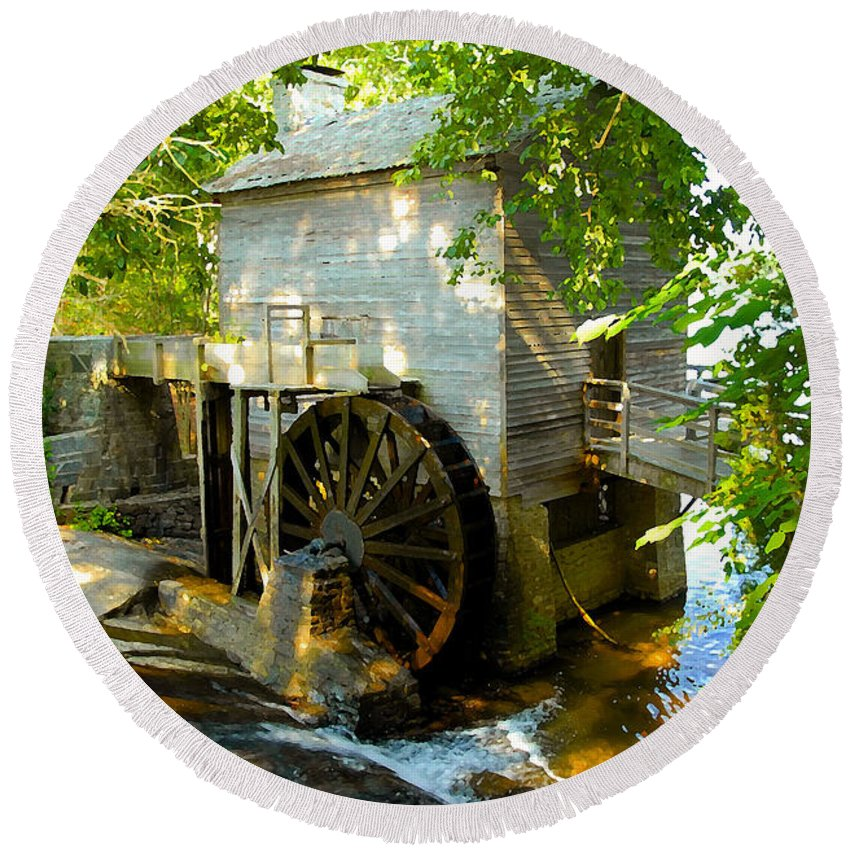 Grist Mill Round Beach Towel featuring the photograph Grist Mill by David Lee Thompson