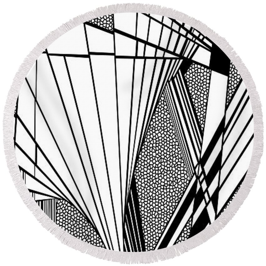 Dynamic Black And White Round Beach Towel featuring the painting Gritting by Douglas Christian Larsen