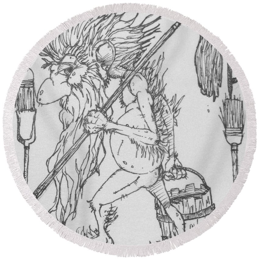 Fae Round Beach Towel featuring the drawing Grogoch by Jason Strong