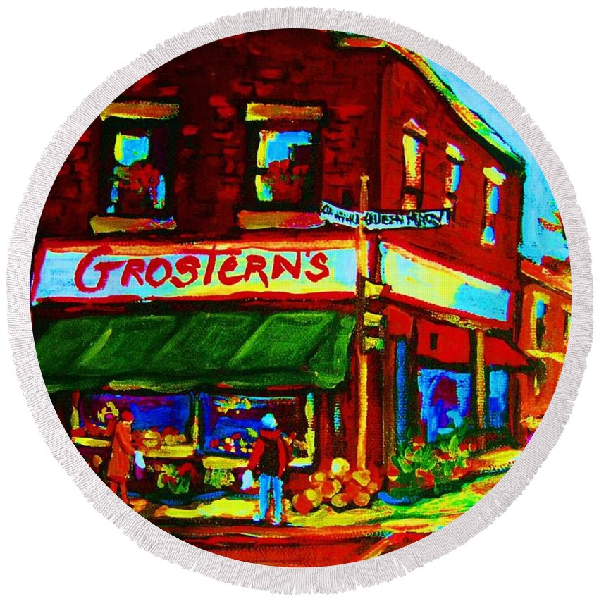 Grosterns Round Beach Towel featuring the painting Grosterns Market by Carole Spandau