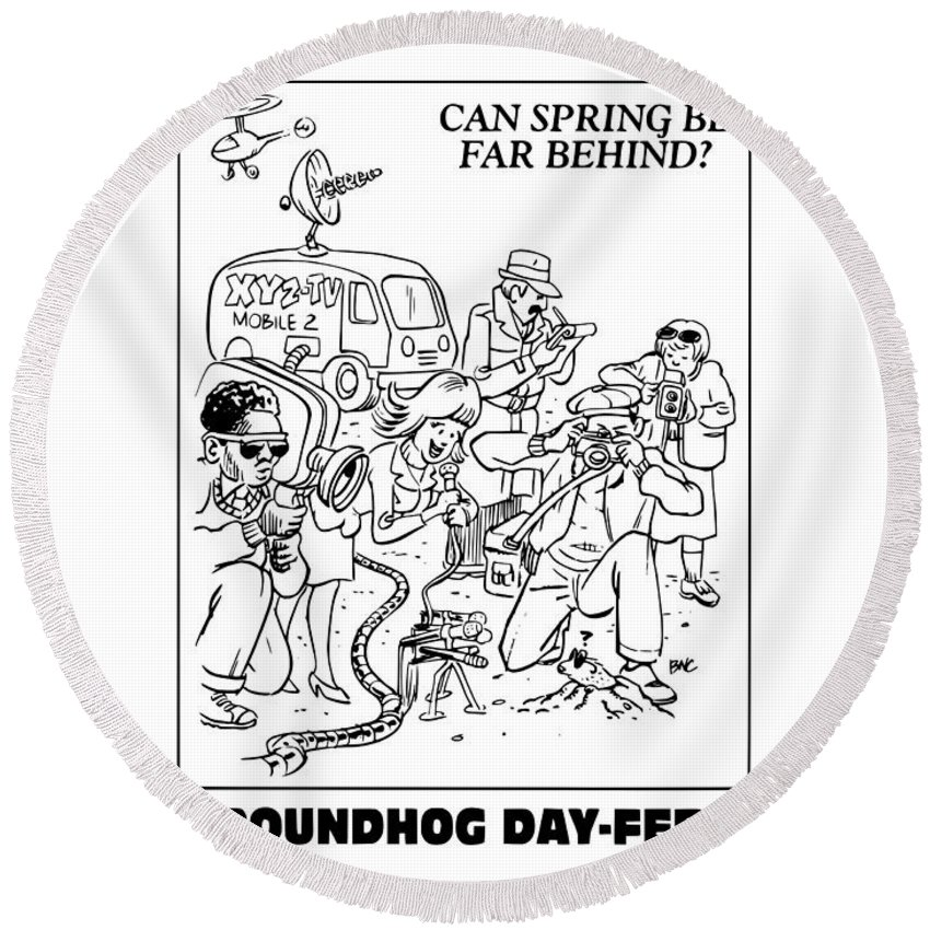 Witchcraft Round Beach Towel featuring the digital art Ground Hog Day by Frederick Holiday