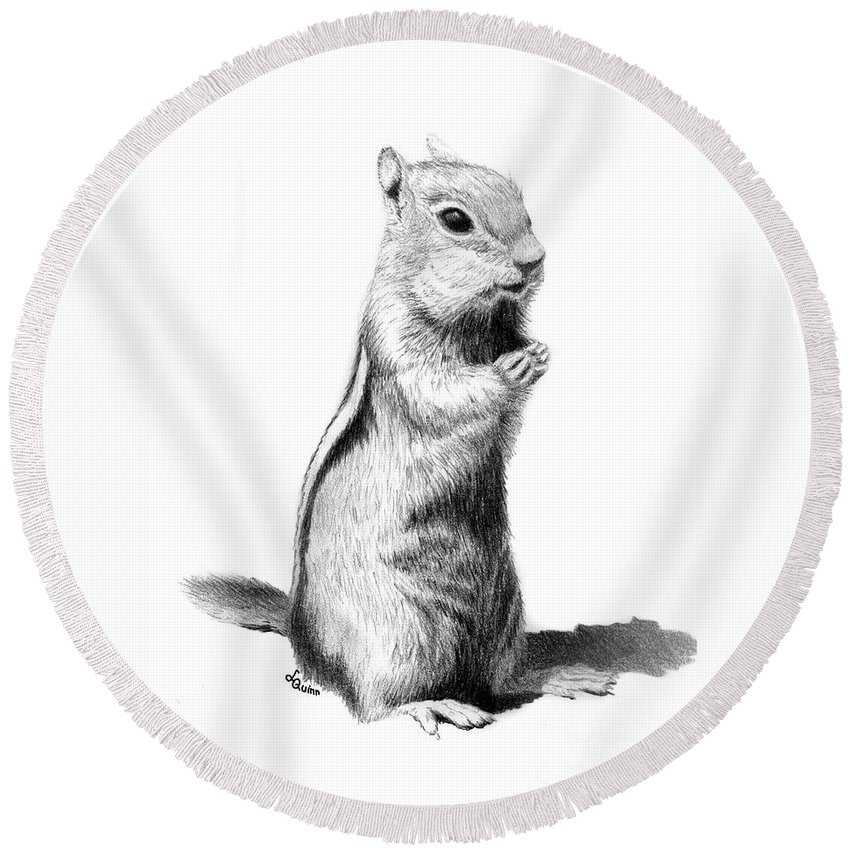 Ground Squirrel Round Beach Towel featuring the drawing Ground Squirrel by Lynn Quinn