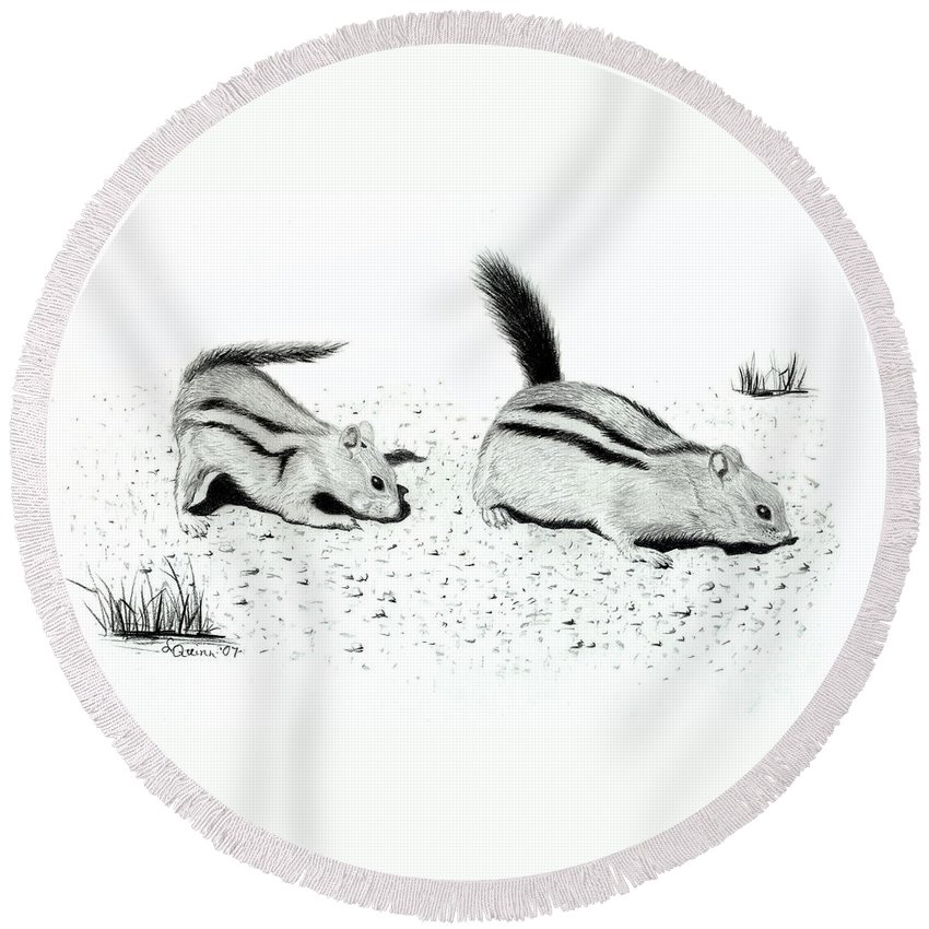 Ground Squirrels Round Beach Towel featuring the drawing Ground Squirrels by Lynn Quinn