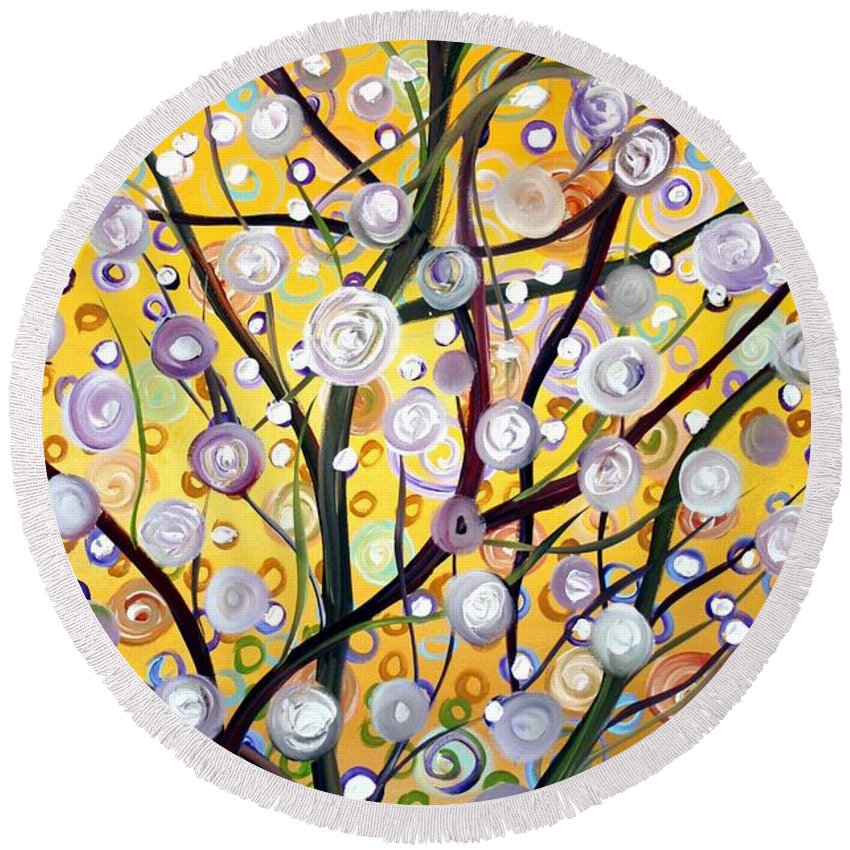 Landscape Round Beach Towel featuring the painting Growing Together by Luiza Vizoli