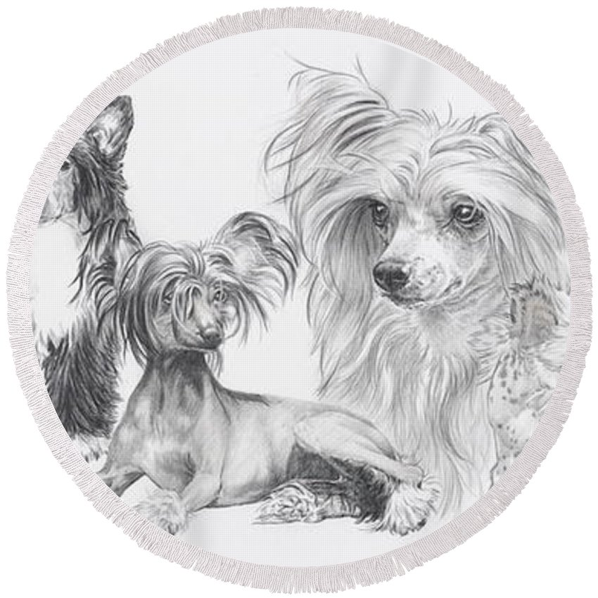 Dog Round Beach Towel featuring the drawing Growing Up Chinese Crested And Powderpuff by Barbara Keith