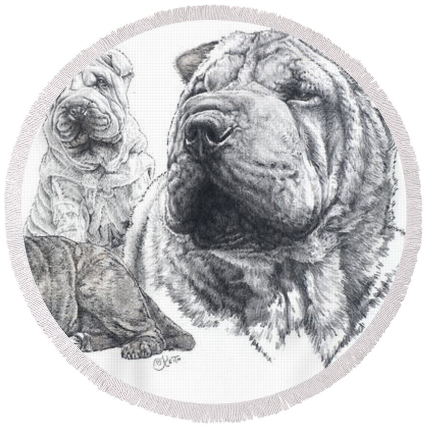 Dog Round Beach Towel featuring the drawing Growing Up Chinese Shar-pei by Barbara Keith