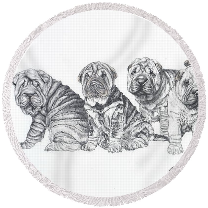 Non-sporting Group Round Beach Towel featuring the drawing Growing Up Chinese Shar-pei by Barbara Keith