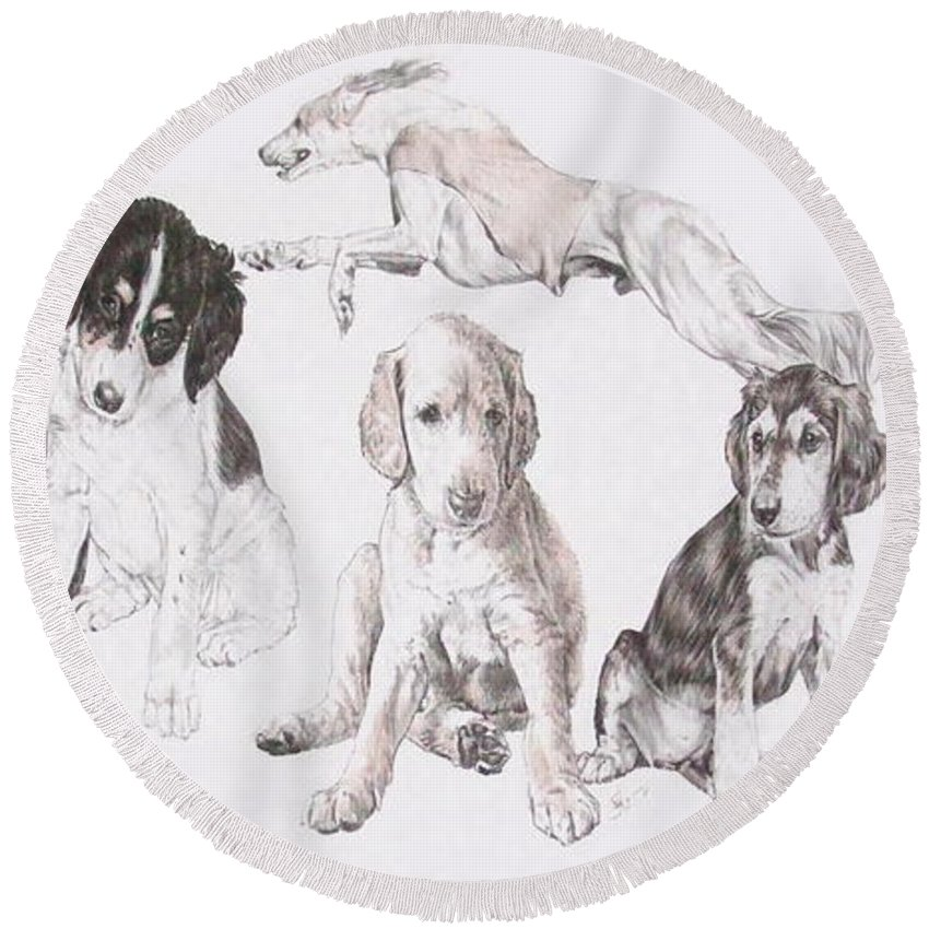 Purebred Dogs Round Beach Towel featuring the mixed media Growing Up Saluki by Barbara Keith