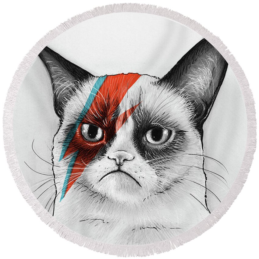 Grumpy Cat Round Beach Towel featuring the drawing Grumpy Cat as David Bowie by Olga Shvartsur