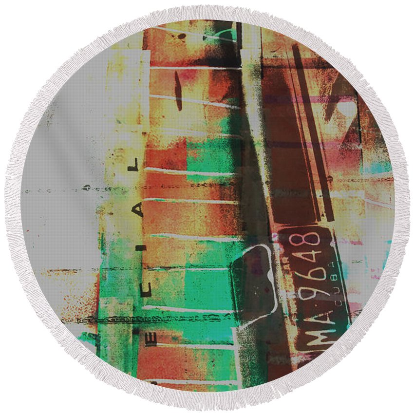 Abstract Round Beach Towel featuring the painting Grunge by David Studwell