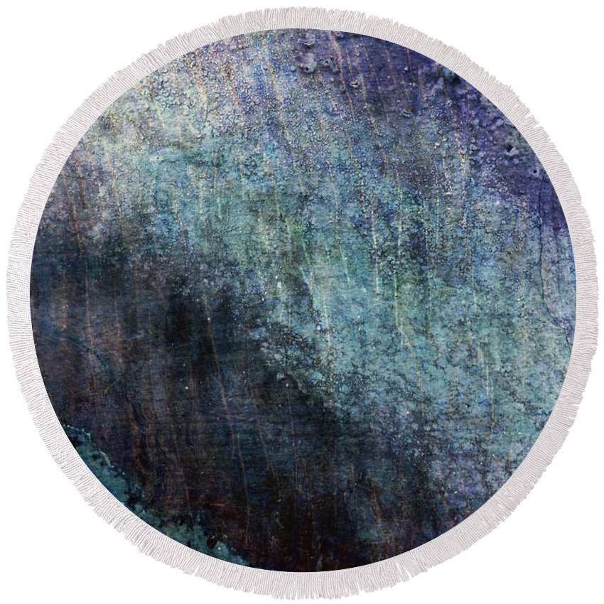Grunge Round Beach Towel featuring the photograph Grunge Texture Blue Ugly Rough Abstract Surface Wallpaper Stock Fused by TextureX