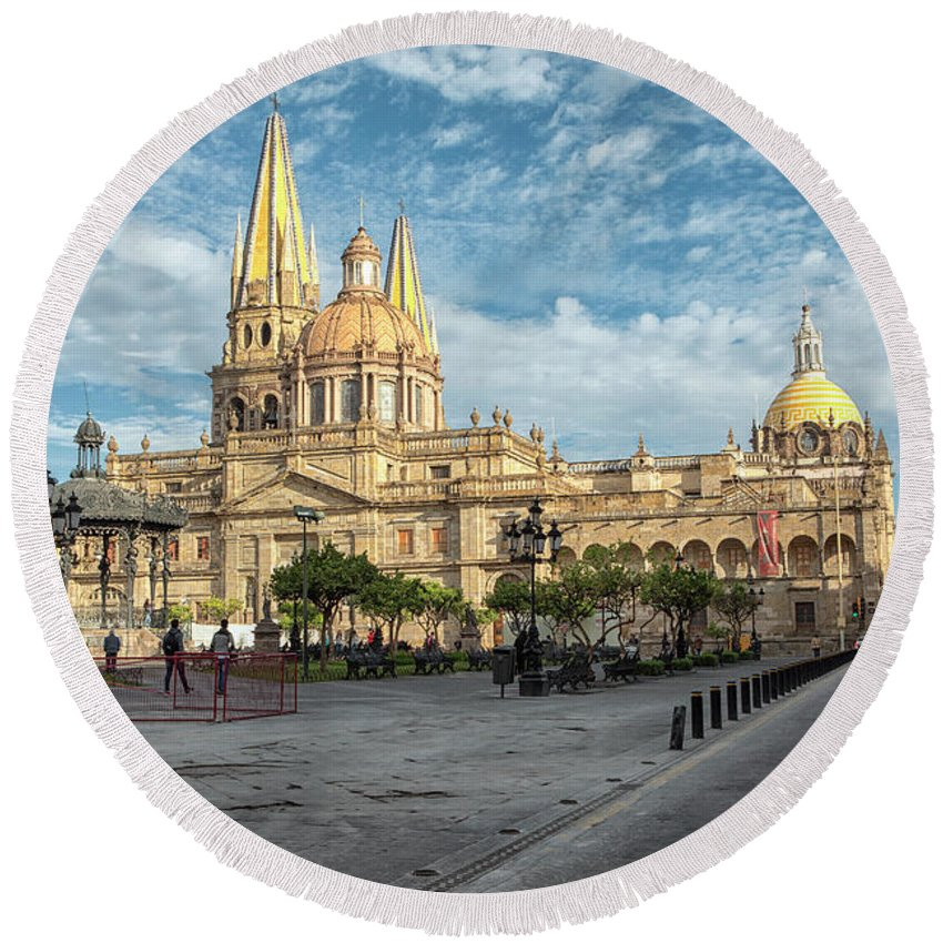 Cathedral Round Beach Towel featuring the photograph Guadalajara Cathedral by Eunice Gibb