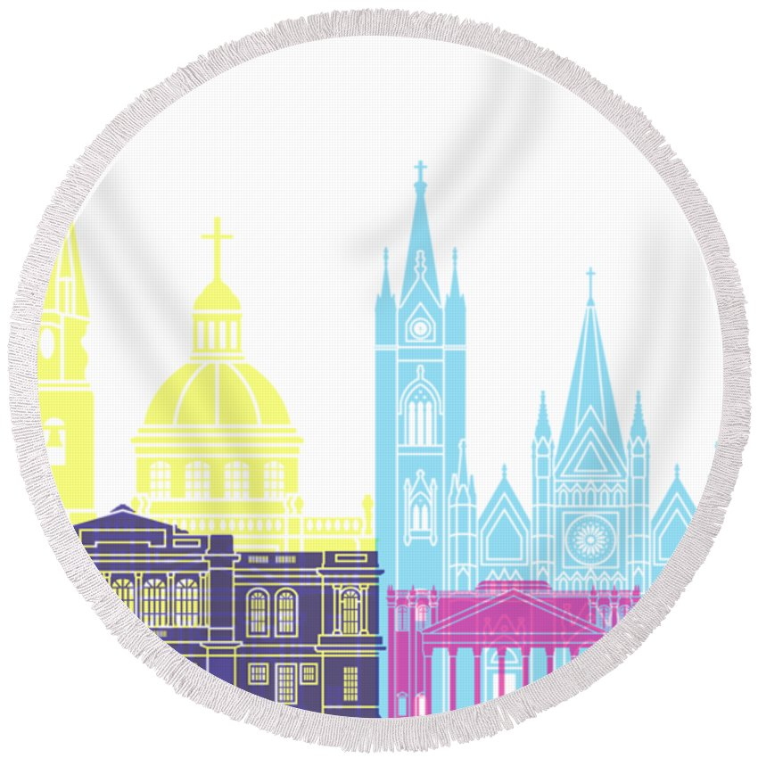 Guadalajara Round Beach Towel featuring the painting Guadalajara Mx Skyline Pop by Pablo Romero