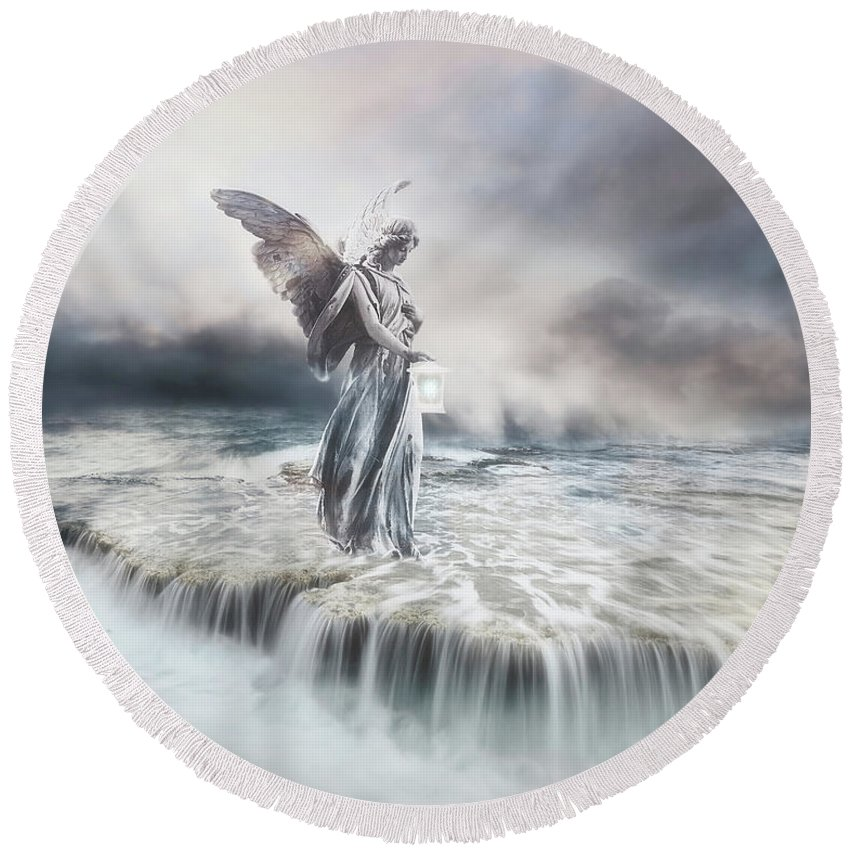 Angel Round Beach Towel featuring the mixed media Guardian Angel by Jacky Gerritsen