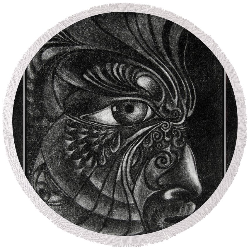 Mezzotint Round Beach Towel featuring the drawing Guardian Cherub by Otto Rapp