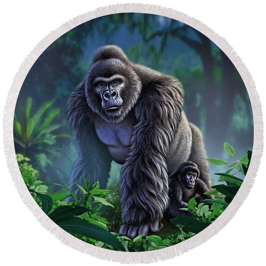 Gorilla Round Beach Towel featuring the painting Guardian by Jerry LoFaro
