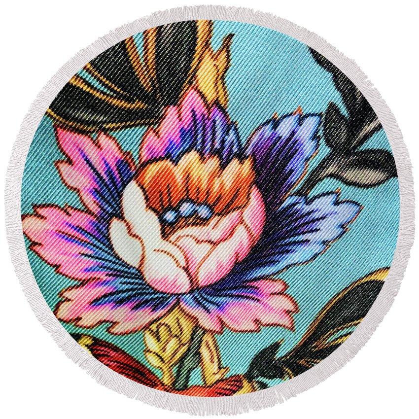 Round Beach Towel featuring the photograph Garden Flower by Ceil Diskin