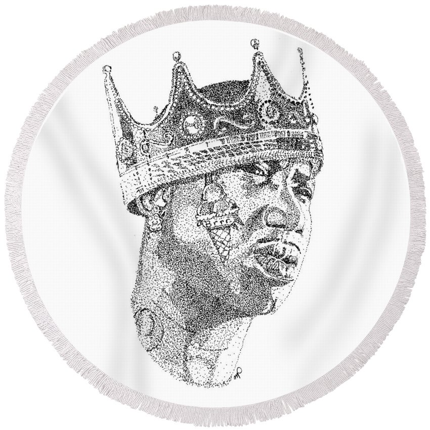 Black Art Round Beach Towel featuring the drawing Gucci Mane by Marcus Price