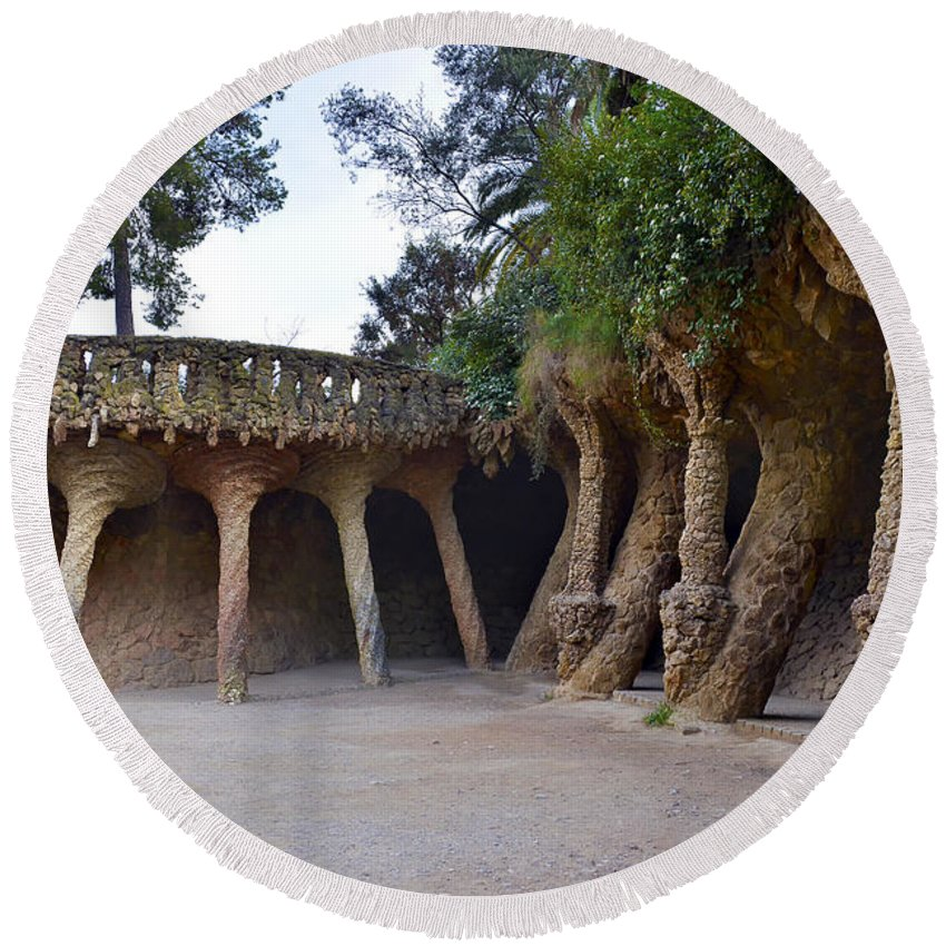 Arc Round Beach Towel featuring the photograph Guell Style by Svetlana Sewell