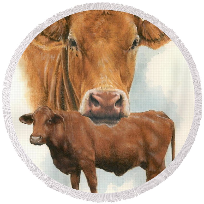 Cow Round Beach Towel featuring the mixed media Guernsey by Barbara Keith