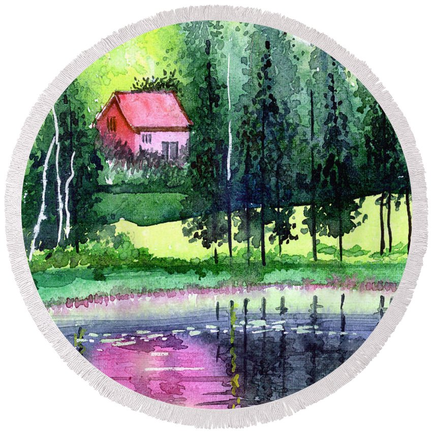 Landscape Round Beach Towel featuring the painting Guest House by Anil Nene