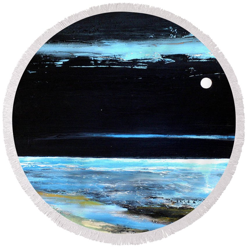 Landscape Round Beach Towel featuring the painting Guiding Light by Toni Grote