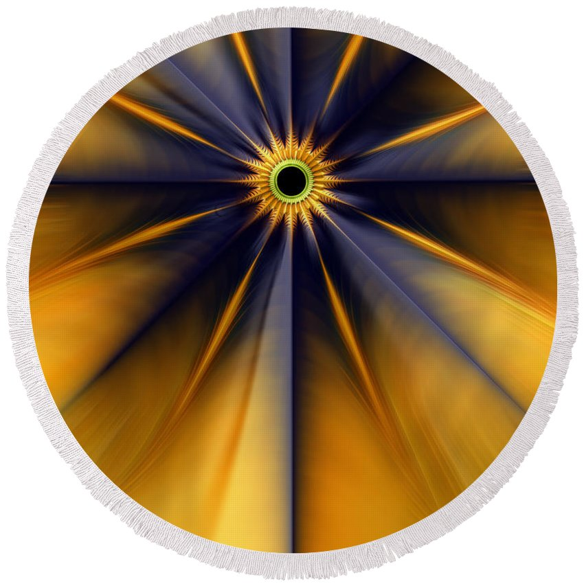 Star Abstract Round Beach Towel featuring the digital art Guiding Star by John Edwards