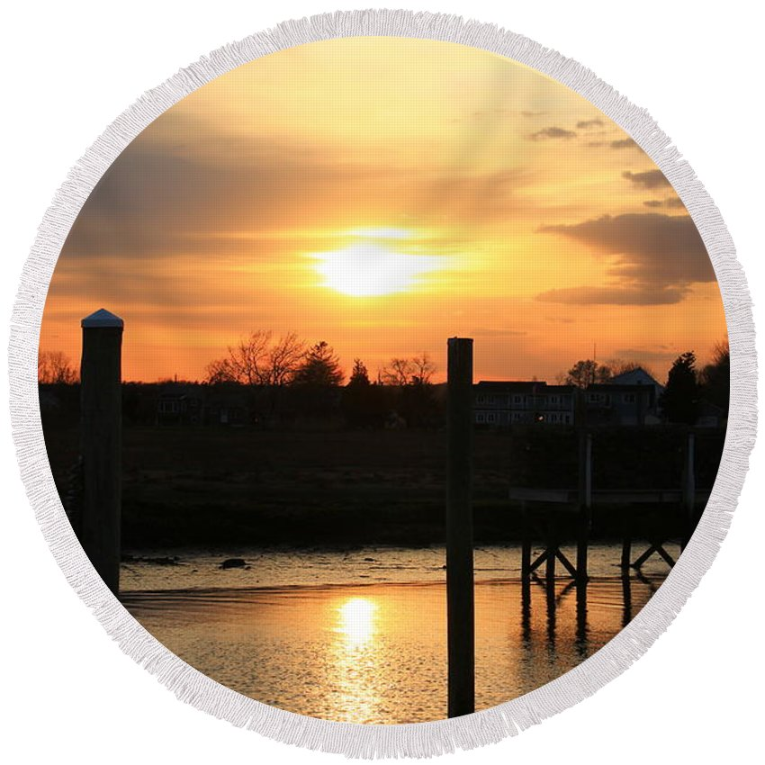 Guilford Round Beach Towel featuring the photograph Guilford Low Tide by Catie Canetti