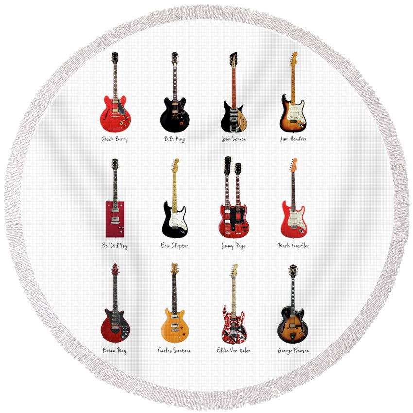 Fender Stratocaster Round Beach Towel featuring the photograph Guitar Icons No1 by Mark Rogan