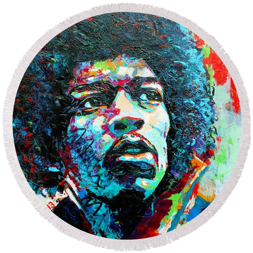 Bright Round Beach Towel featuring the painting Guitar Legend by Angie Wright
