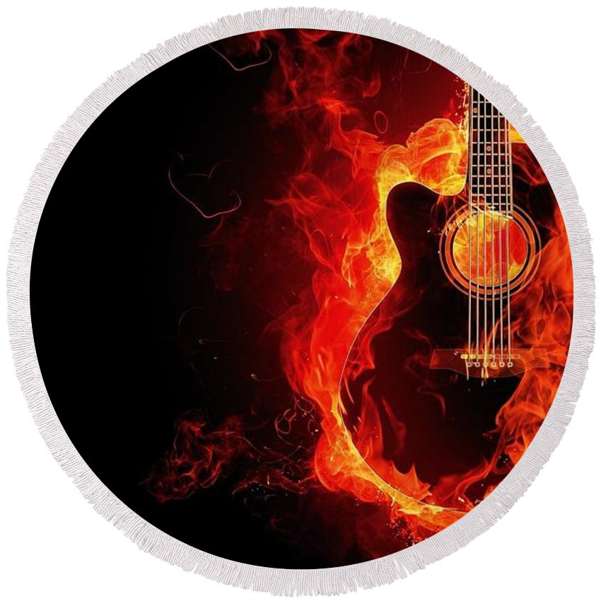 Guitar Round Beach Towel featuring the photograph Guitar On Fire by FL collection