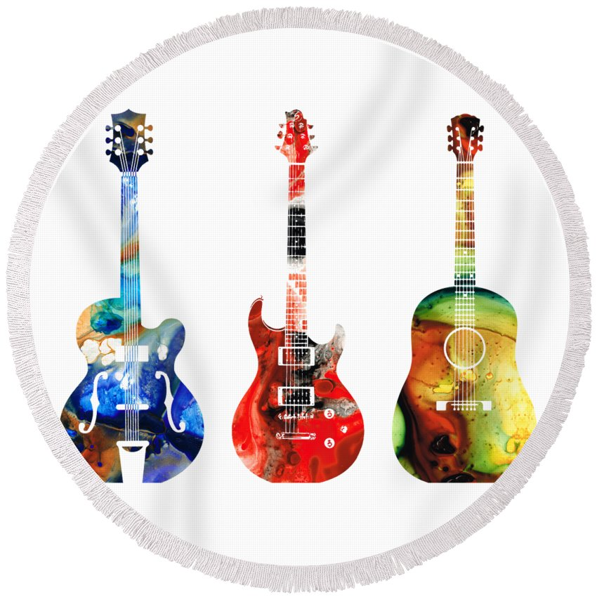 Guitar Round Beach Towel featuring the painting Guitar Threesome - Colorful Guitars By Sharon Cummings by Sharon Cummings